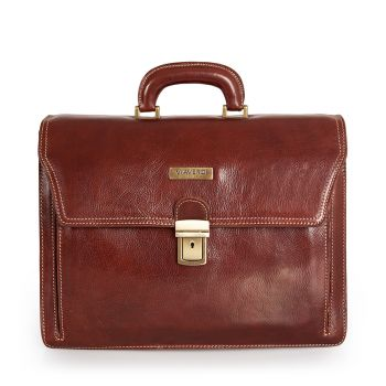 VIAVERDI Brown Leather Portfolio Pc Bag Made in Italy