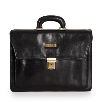 VIAVERDI Black Leather Portfolio Pc Bag Made in Italy