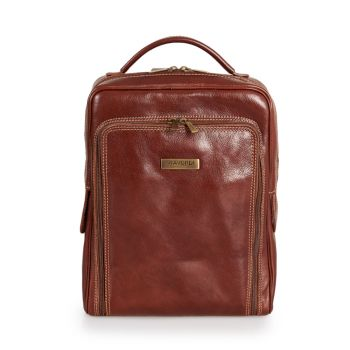 VIAVERDI Brown Leather Backpack Made in Italy