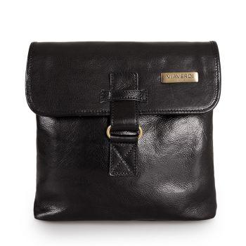 VIAVERDI Black Leather Crossbody Bag Made in Italy