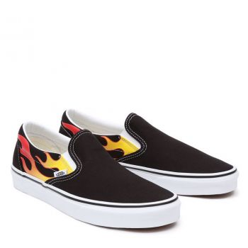 VANS Classic Line – Unisex Slip-On Sneakers with Flame Print