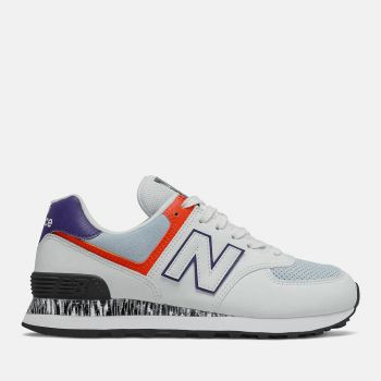 NEW BALANCE 574 Line – White Ghost Pepper Suede and Fabric Sneakers for Women