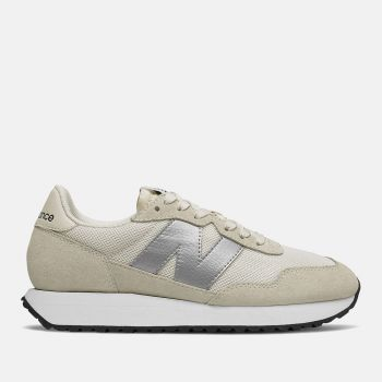 NEW BALANCE 237 Line –  Sea Salt Silver Metallic Suede and Nylon Sneakers for Women