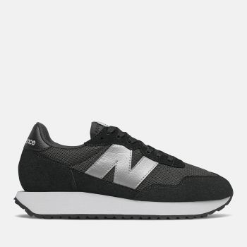 NEW BALANCE 237 Line – Black Silver Metallic Suede and Nylon Sneakers for Women