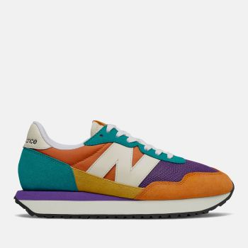 NEW BALANCE 237 Line – Vintage Orange Suede Mesh Sneakers for Women