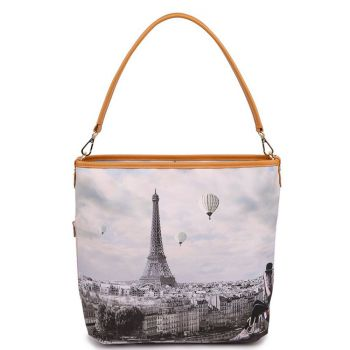 Y NOT YES-349 Line – Shoulder Bag with Ciel De Paris Print