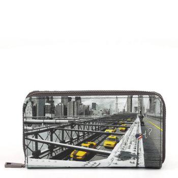 Y NOT YES-361 Line – Zip Around Wallet with New York Brooklyn Bridge Print