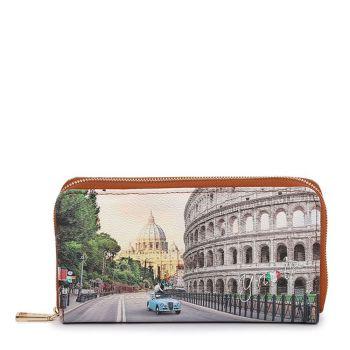 Y NOT YES-361 Line – Zip Around Wallet with Roma Aurelia Print