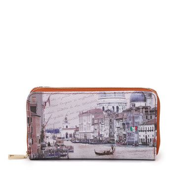 Y NOT YES-361 Line – Zip Around Wallet with Venezia Canal Grande Print