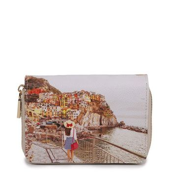 Y NOT YES-362 Line – Compact Wallet with Tramonto Sul Mare Print