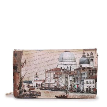 Y NOT YES-364 Line – Wallet with Button Closure Venezia Canal Grande Print for Women