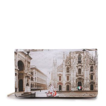 Y NOT YES-364 Line – Wallet with Button Closure Milano Classic Print for Women