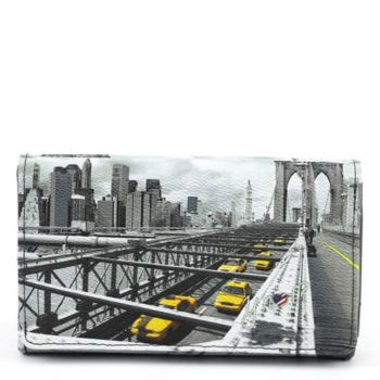 Y NOT YES-364 Line – Wallet with Button Closure New York Brooklyn Bridge Print for Women