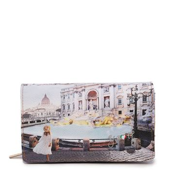 Y NOT YES-364 Line – Wallet with Button Closure Roma Trevi Print for Women