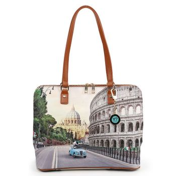 Y NOT YES-478 Line – Large Shoulder Bag with Roma Aurelia Print for Women