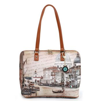 Y NOT YES-478 Line – Large Shoulder Bag with Venezia Canal Grande Print for Women