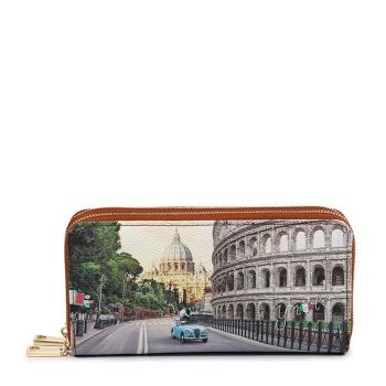 Y NOT YES-568 Line – Double Zip Around Wallet with Roma Aurelia Print for Women