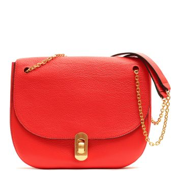 COCCINELLE Zaniah Line - Polish Red Leather Chain Crossbody Bag