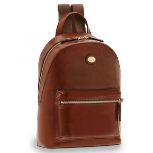 "THE BRIDGE Story Line - Brown Leather Man Backpack Pc 13"" Made in Italy"