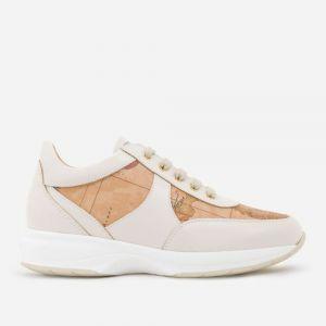 1A Classe Alviero Martini Geo Crossing Line – White Leather Sneakers 9810