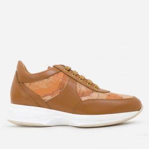 1A Classe Alviero Martini Geo Crossing Line – Brown Leather Sneakers 9810