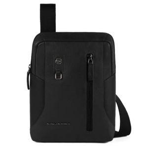 PIQUADRO Hakone Line – Black Leather Crossbody Bag with iPad Compartment CA1816S104