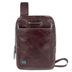 PIQUADRO Blue Square Line –  Mahogany Leather Crossbody Bag CA3084B2