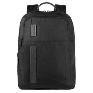 """PIQUADRO Pulse P16 Line – Black Fabric Backpack with 15,6"""" Pc Compartment CA4174P16"""