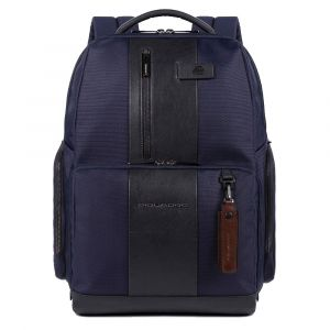 """PIQUADRO Urban Line – Blue Leather and Fabric Backpack with 15,6"""" pc Compartment CA4532BR2"""