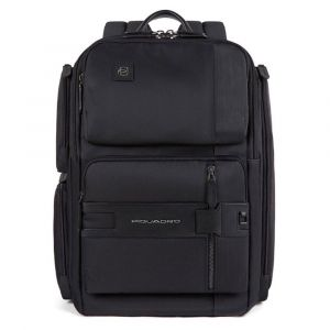 """PIQUADRO Tokyo Line – Black Leather and Fabric Backpack with 14"""" pc Compartment CA4915S107"""
