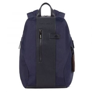 PIQUADRO Brief 2 Line – Blue Leather and Fabric Backpack CA5478BR2