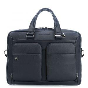 "PIQUADRO Black Square Line – Blue Leather Portfolio 14"" Pc Bag CA2849B3"
