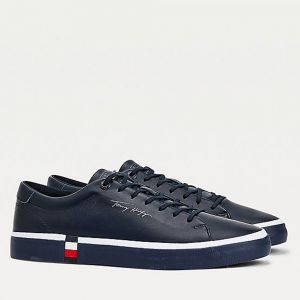 TOMMY HILFIGER Modern Line – Blue Leather Sneakers