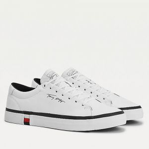 TOMMY HILFIGER Modern Line – White Leather Sneakers