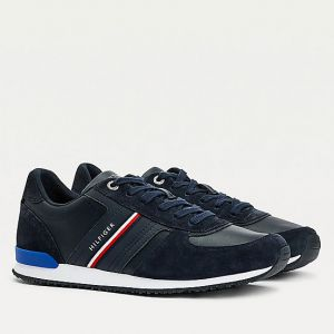 TOMMY HILFIGER Iconic Line – Blue Suede Sneakers FM0FM03743